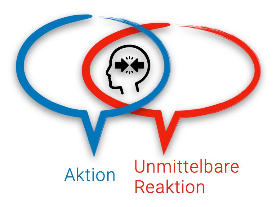 Unmittelbare Reaktion tendiert zu esalierenden Konflikten